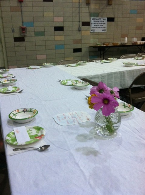 The table is set and ready for third graders.